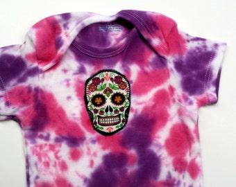 Tie Dye Sugar Skull Onesie-Baby Girl-3-6 month