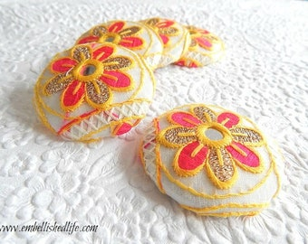 5 pink yellow white embroidered floral fabric buttons,  1 7/8 inches, 1.9 inches, 4.7 cm, 48.26 mm, size 75 buttons
