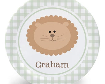 Baby Lion Plate - Melamine Bowl or Plate Custom Personalized with Childs Name