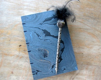 CUSTOM SIZE Wedding Guest Book or Journal in Blue Black Gold Marble, Torn unlined pages