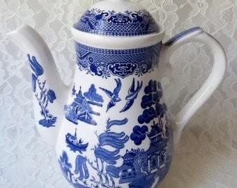 Blue Willow Churchill Coffee Pot Staffordshire England Georgian Shape Porcelain
