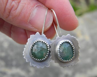 Whimsical Handcut sterling silver earrings with Natural Rose Cut Emeralds