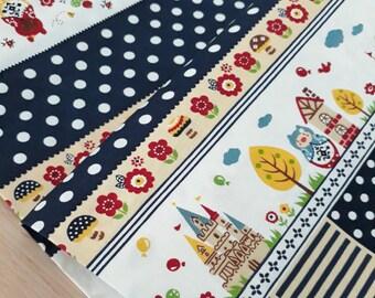 Japanese Fabric, Matryoshka and Pigs in White, Half Yard