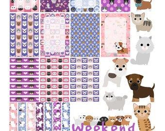 Puppers and Mittens - Printable Planner Stickers for the Happy Planner