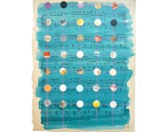 Mixed Media Art,Multicolored Dots, Dot Art, Jewel Tones, Pattern, Dot Pattern, Antique Sheet Music, Organ Music, Teacher Gift, Musician Gift