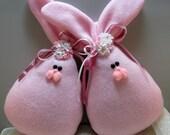 Fleece Bunny Easter and Spring Decoration, Stuffed Bunny, Easter Bunny, Set of 2 Spring Bunnies in Pink Fleece