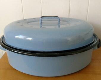 vintage periwinkle enamel roaster pan