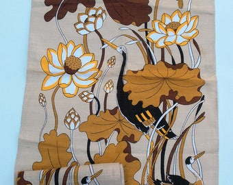 Vintage Kitsch Tea Towel - Brown with Yellow and Taupe Design - 70s Psychedelic Tea Towel