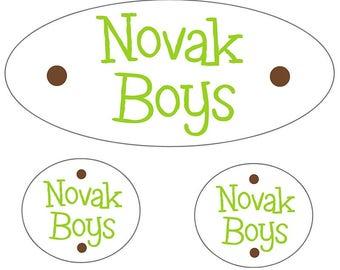 Boys Waterproof Name Labels | Green Waterproof Labels for Boys | Kids Name Stickers | Kids Labels for Camp | Name Labels Preschool Daycare