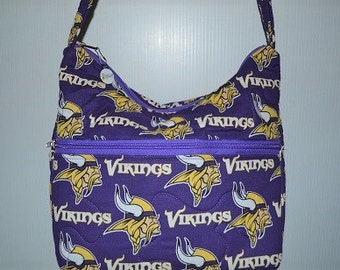 Quilted Fabric Handbag Hobo Slouch Purse Minnesota Vikings NFL