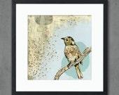 April Evening Moody Bird Art Print