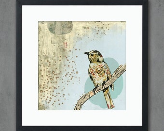10 x 10 April Evening Moody Bird Art Print