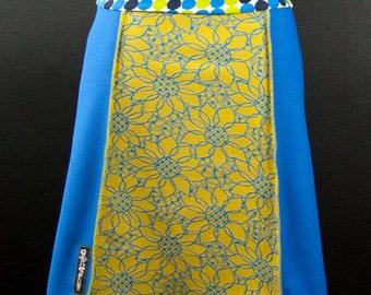 BOLD Royal Blue + Gold SUNFLOWER  A-Line Skirt   Multiple Sizes