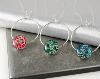 Circuit Board Necklace, Sterling Silver Jewelry, Colorful Necklace, Wearable Technology, Artisan Silver Necklace, Engineer Gift, Geekery