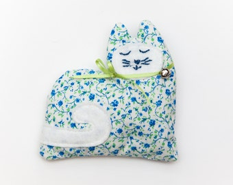 Blue and Green Floral Lavender Kitty Sachet, Aromatherapy Sachets, Stocking Stuffers