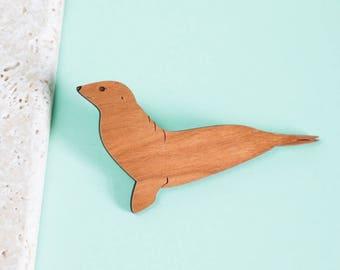 Seal brooch - seal jewellery - seal jewelry - animal brooch - seal gift - gift for seal lover - seal pin - seal animal - laser cut brooch
