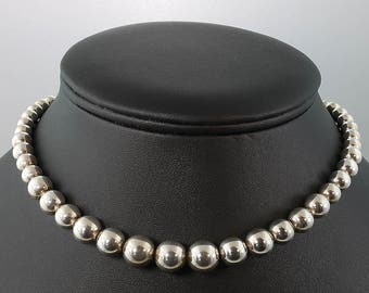 Vintage! Sterling Silver Tiffany & Co.Graduated Bead Necklace