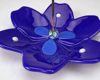Cobalt blue blossom incense holders, art glass incense holder, incense burner, yoga incense holder, meditation incense holder, happy cat