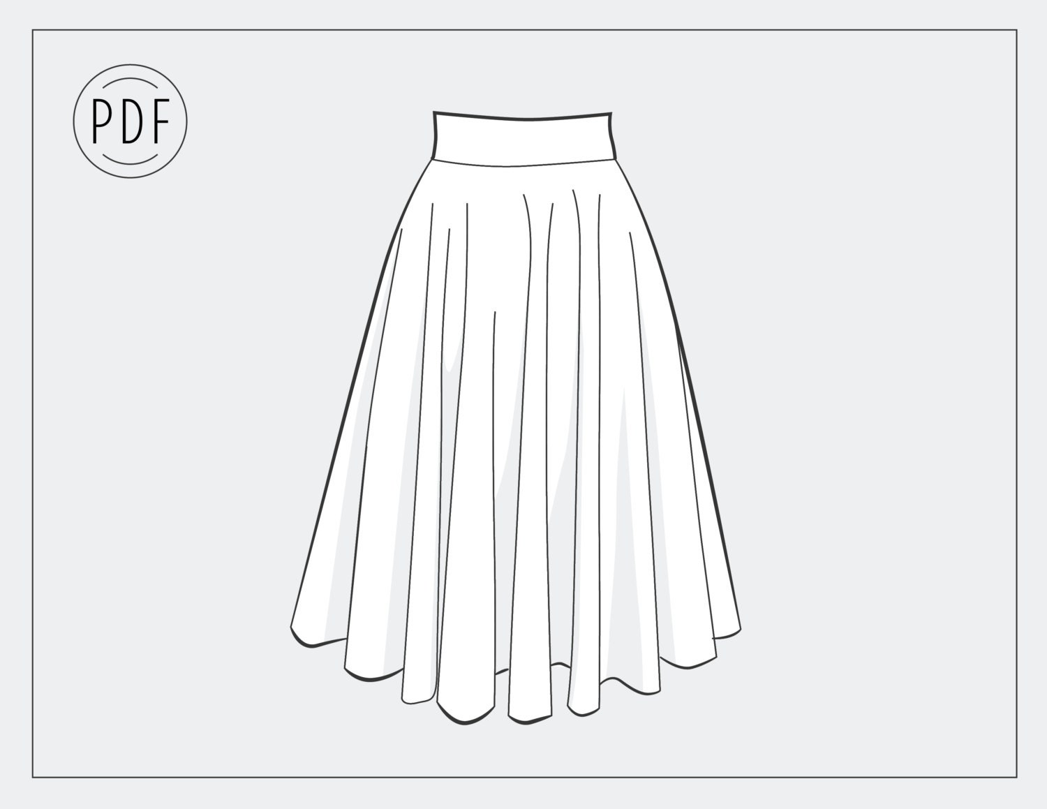 Circle skirt sewing pattern instant download 3 sizes womens this is a digital file jeuxipadfo Gallery