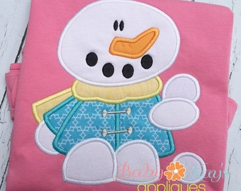 Snowman Playing with Snow Applique Design 4x4, 5x7, 6x10, 8x8