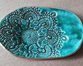 Ceramic Lace Trinket Dish jewelry dish Malachite Green edged in gold