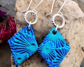 Fabulous Long Drop Turquoise Blue Earrings Unique Dichroic Fused Glass with Sterling Silver Hooks