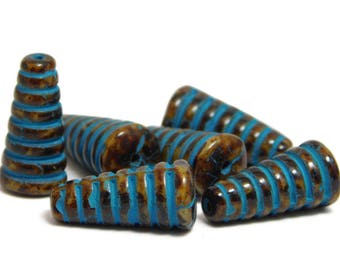 Czech Picasso Beads - Cone Beads - Honeycomb - Beehive - Czech Glass Beads - Rustic Beads - 6pcs (2599)