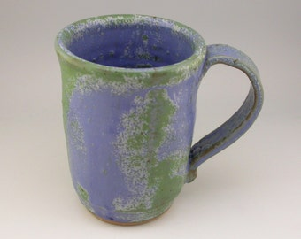 Rustic Mug, Stoneware Mug, Green and Blue Mug, Handmade Ceramic Mug