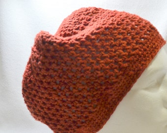 Hand Crocheted Beanie in Rust Red Hand Dyed 100% US Wool Stylish Fun and Warm Adult Medium