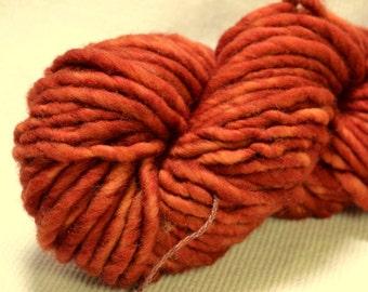 SALE Yarn Hollow Burly Hand Dyed Super Bulky Wool Yarn Single Ply Shiny Rust Semi Solid 66 yards 4 ounces