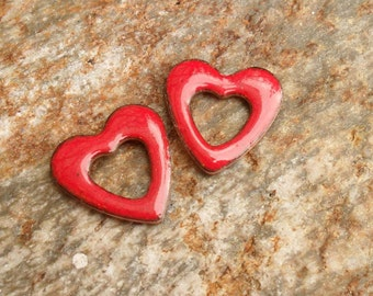 Red Open Heart Enamel Components, SRA Artisan Handmade Glassymom