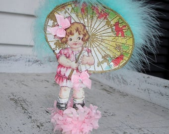 EASTER*Spring*Anytime*Little Miss Ella with her  big paper umbrella spoolie