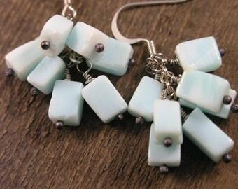 Genuine blue opal gemstons and silver handmade earrings