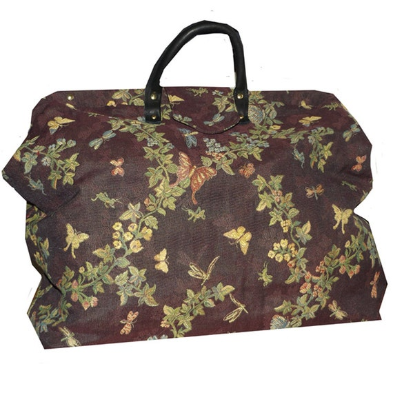 Plum Butterfly Floral Woven Tapestry Carpet Bag