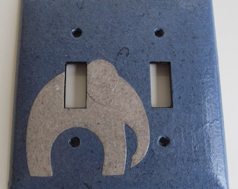 Elephant on Dark Blue Light switch Plate- double- Recycled Materials