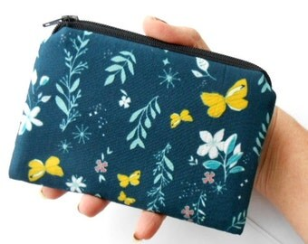 Zipper Pouch Little Padded Coin Purse ECO Friendly Magic Butterflies