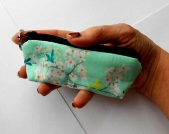 Coin Purse Mini Key Chain Zipper Pouch ECO Friendly Padded Lip Balm Case NEW Rainwater blooms