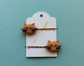 Grumpy Kitty Hair Pins