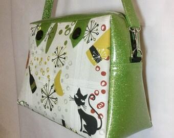 Atomic Cat and Glitter Vinyl Handbag