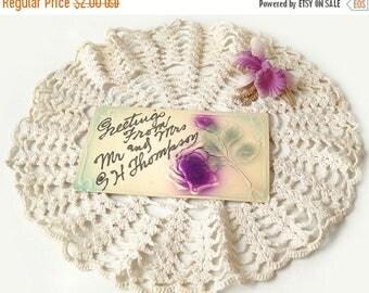 Antique Postcard, Greetings Purple Flowers & Silver Glitter, Vintage Paper Ephemera