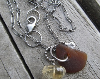 Brown Beach Glass Necklace Silver Charm Necklace Brown Sea Glass Pendant Necklace Yellow Citrine Gemstone Necklace Sterling Silver Necklace