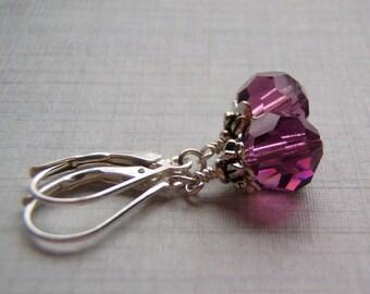 Amethyst Earrings .925 Sterling Silver Ear Wire 8 mm Swarovski Crystal Dangle February Birthstone