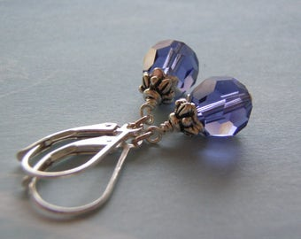 Tanzanite Earrings .925 Sterling Silver Ear Wire 8 mm Swarovski Crystal Dangle December Birthstone