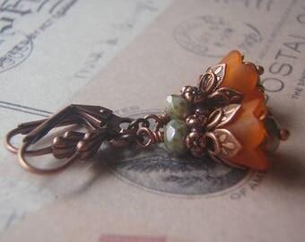 Orange Earrings Lucite Flower  Art Deco Antique Copper Lever Back Ear Wire