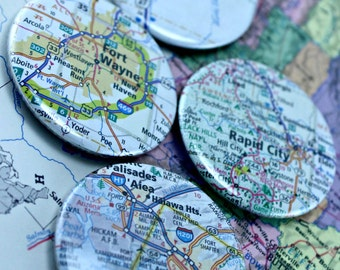 US Atlas or International Map 1.75 Inch Button Magnets You Choose Cities Towns States Set of 4