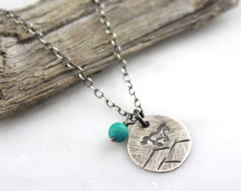 Horse and Mountains Charm with Turquoise Oxidized Silver Necklace