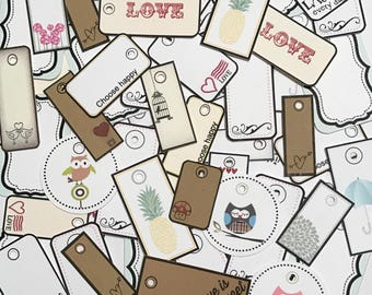 50, 100 or 500 Grab Bag of Mini Assorted Tags