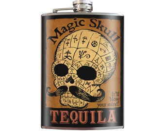 Magic Skull Tequila- Zombie Mustache Goth Pornstache - 8oz Stainless Steel Flask - comes in a GIFT BOX -  by Trixie & Milo