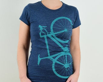 WOMENS BIKE Tee LARGE 50-50 t-shirt, Lapis on Heather Navy, L