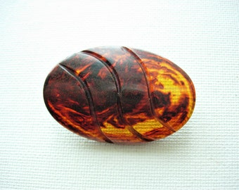 Huge Vintage Faux Tortoise Shell Caved Bakelite Button-Test Positive